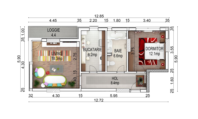 apartament 2 camere cu cote