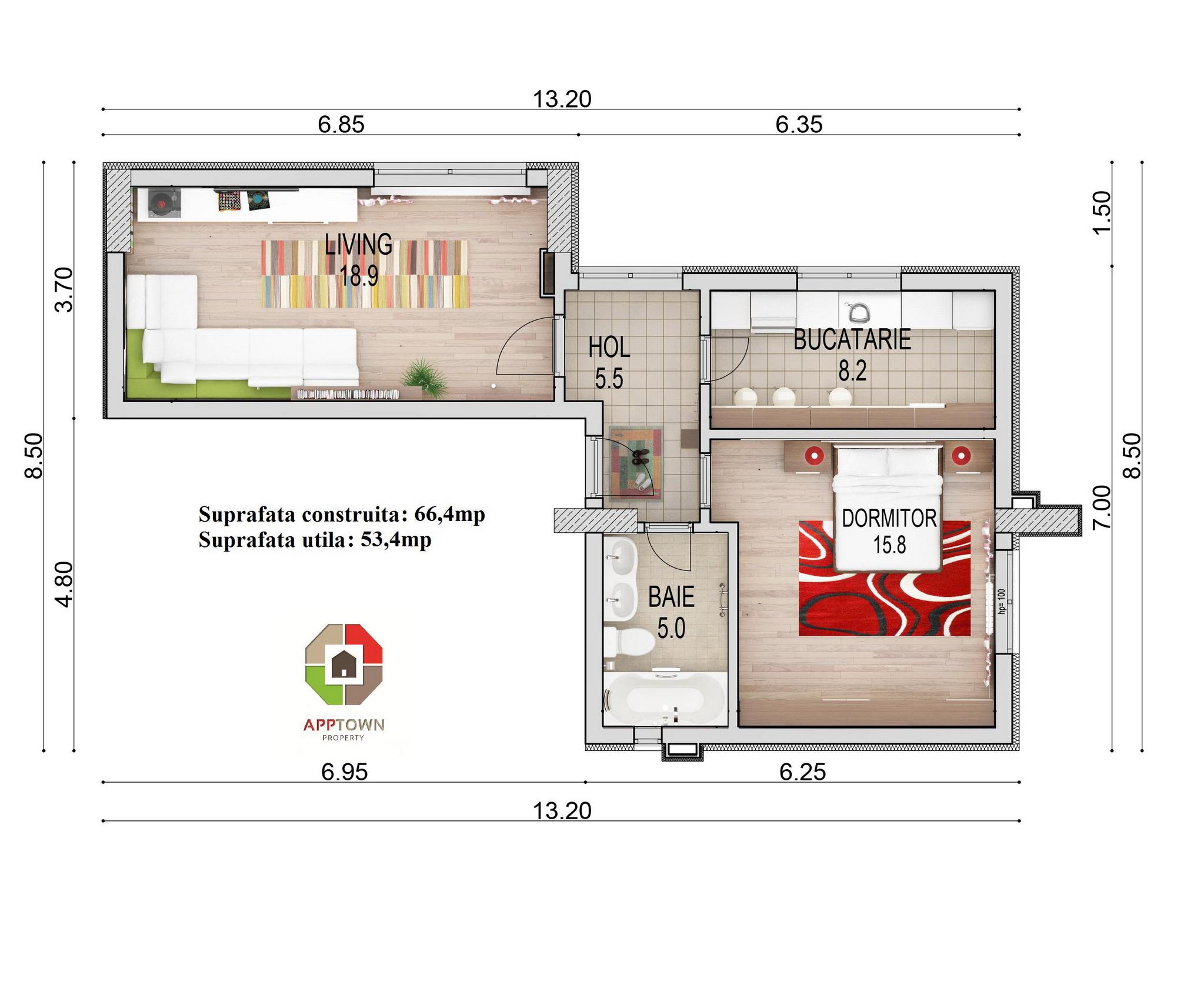 cote apartament 2 camere parter