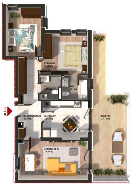 Apartament 2 Camere Parter 66.4 mp Tronson 1